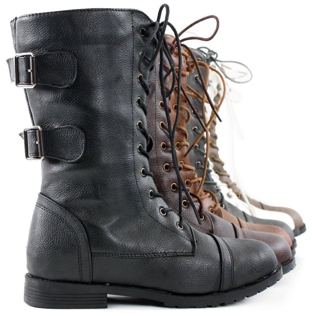 Womens Combat Boots Military Shoes Flat Heels Motorcycle Lace Up Biker Army Moto | eBay