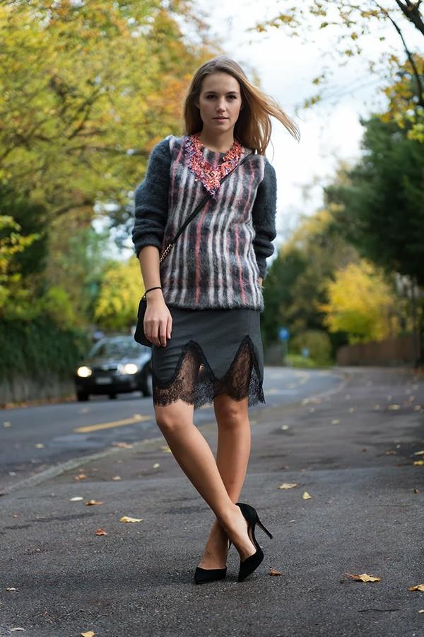 fashion gamble skirt shoes sweater jewels bag