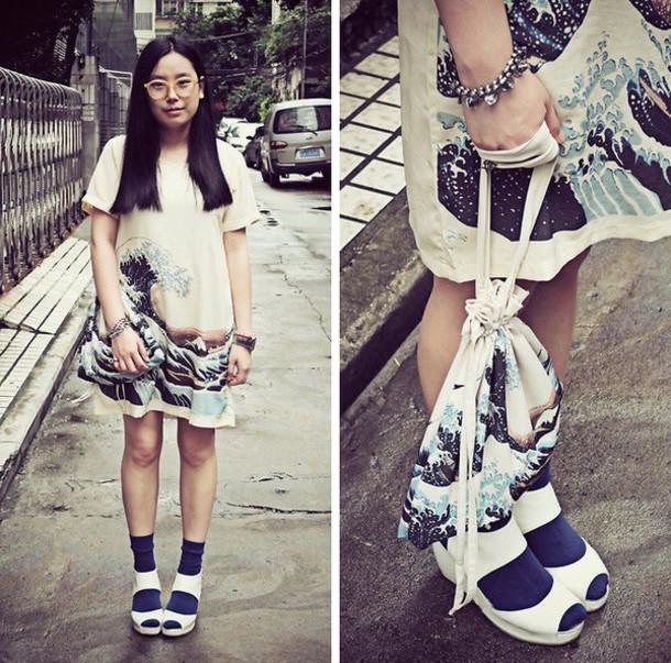 dress tsunami japanese white blue waves