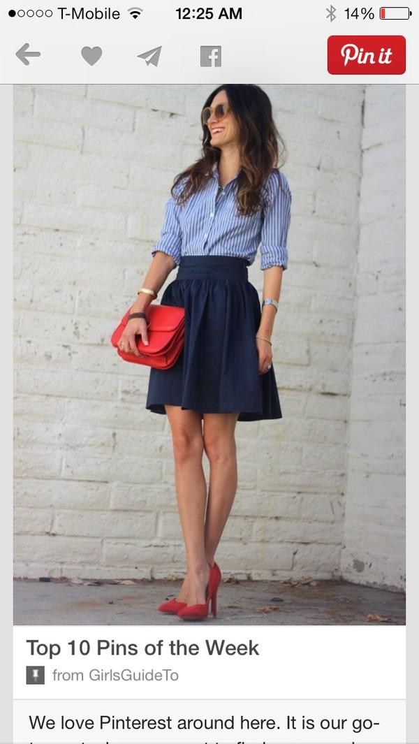 skirt navy blue high wasted skirt blouse