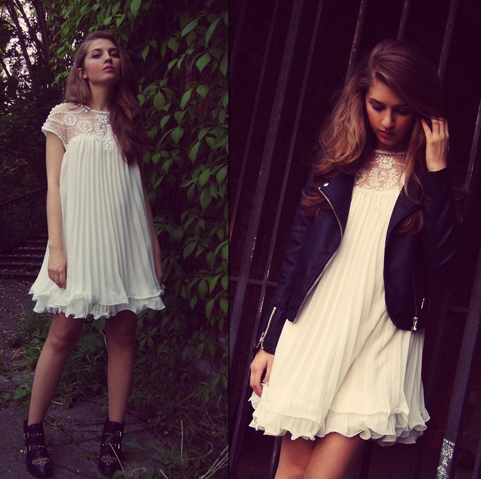 Beads Embellished Pleated Dolly Dress in White - Retro, Indie and Unique Fashion