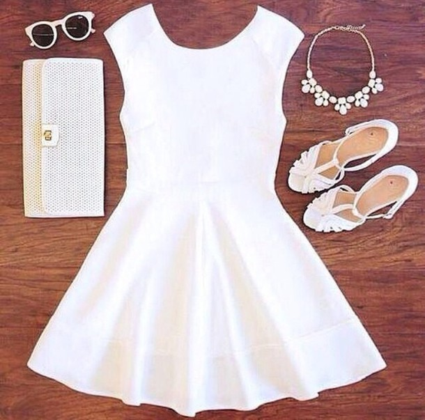 dress white lively wow summer summer dress white short dress happy spring party shoes jewels sunglasses white dress skater dress wedding fashion cute dress withe short hair accessory cute girly high heel sandals solid white dress vestidos vestidos de novia chic colier sandale blanc robe blanche classe
