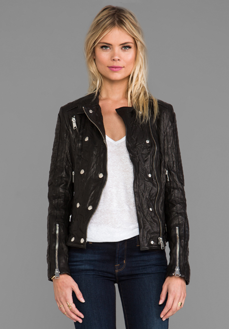 ANINE BING Moto Leather Jacket in Black - Black