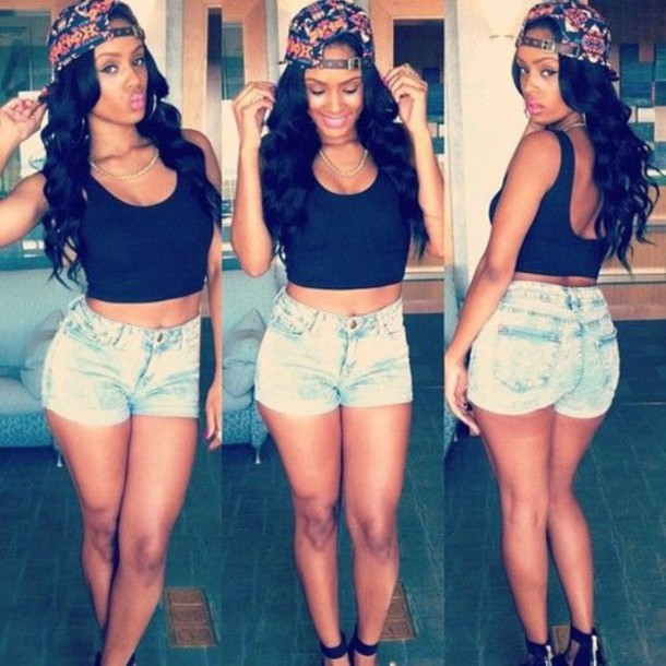 shorts jeans black t-shirt black crop top crop tops hat make-up cool swag top