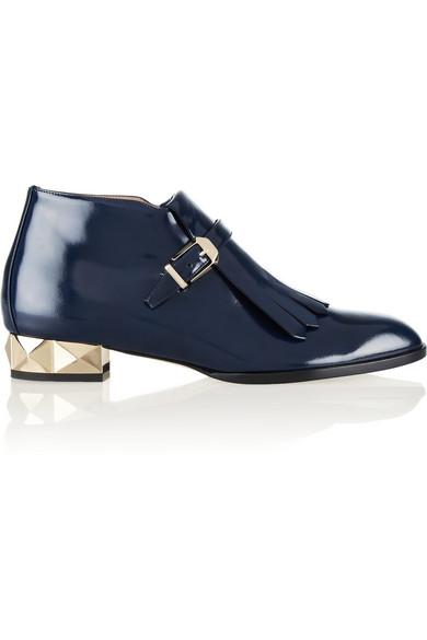 Valentino|Studded polished-leather loafers|NET-A-PORTER.COM
