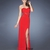Red Sheath/Column Sweetheart Jewels High Slit Chiffon Prom Dress PD11645
