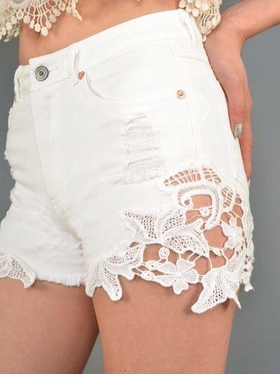 Crochet Lace Side White Denim Jean Distressed Shorts Size Large | eBay