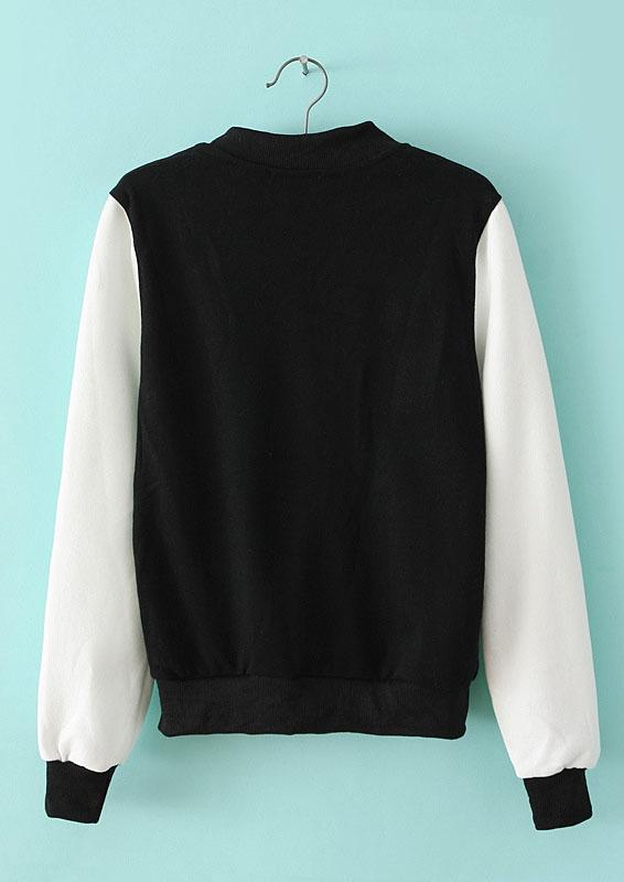 Black Contrast PU Leather Long Sleeve Jacket - Sheinside.com
