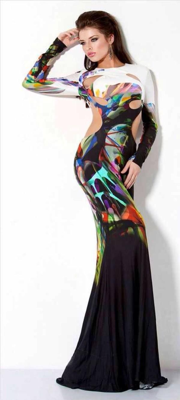 dress paint splatter evening dress long dress multicolor mermaid evening dres
