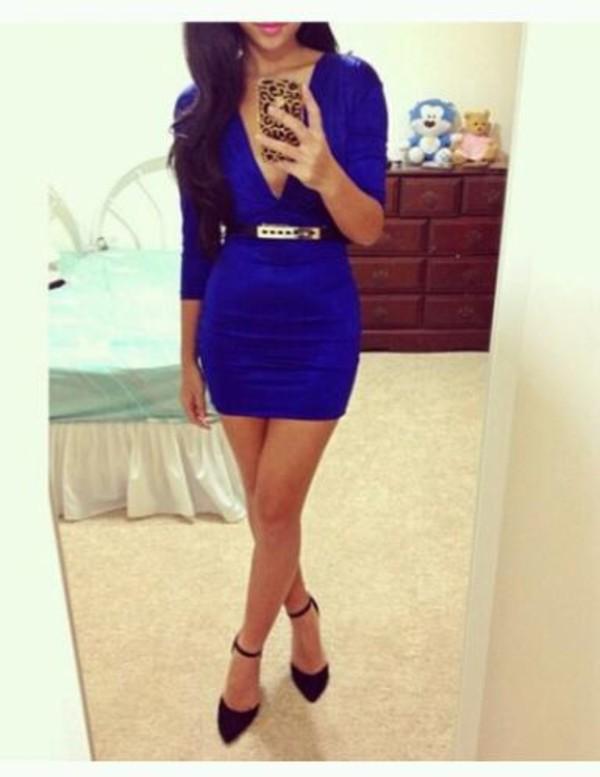 dress blue dress low v neck bodycon dress bodycon classy dress