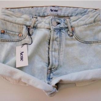shorts denim acne studios acid wash light blue baby blue blue high waisted high waist rolled up roll-up zip button summer cute tan