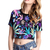 Black Maple Leaf Midriff T-shirt - Sheinside.com