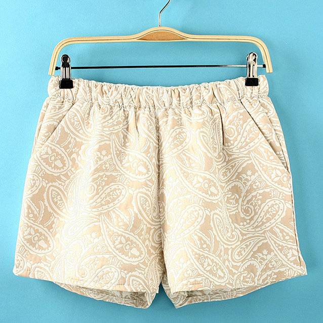 03C216  Fashion summer High quality Women's vintage Paisley gold jacquard short pants vintage pants lady shorts-in Shorts from Apparel & Accessories on Aliexpress.com