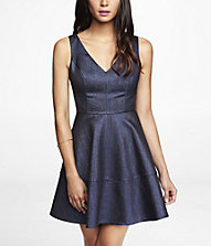 METALLIC JACQUARD FIT AND FLARE DRESS | Express