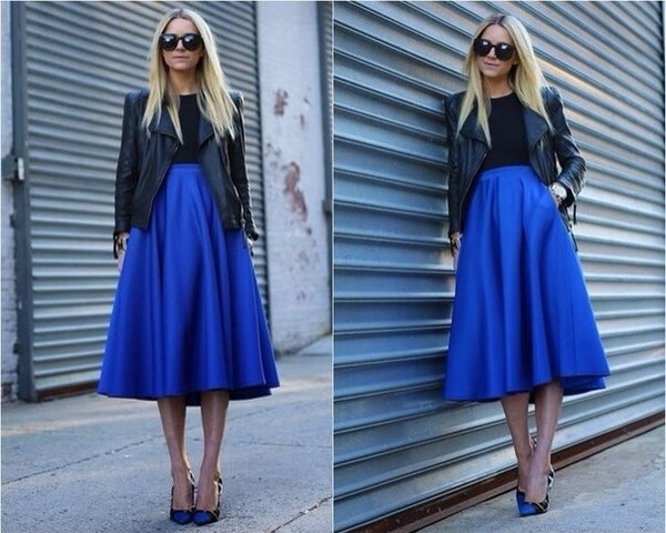 skirt blue long skirt maxi skirt deep blue high waisted skirt royal blue leather jacket asos