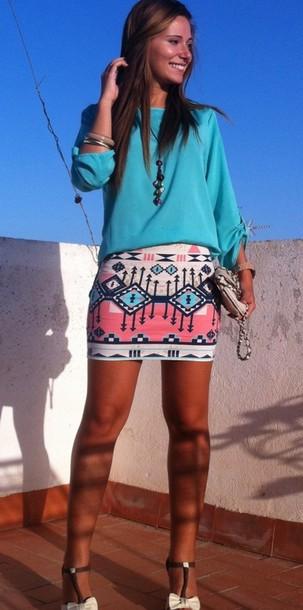 skirt tribal skirt tribal pattern mini skirt pink skirt blue skirt