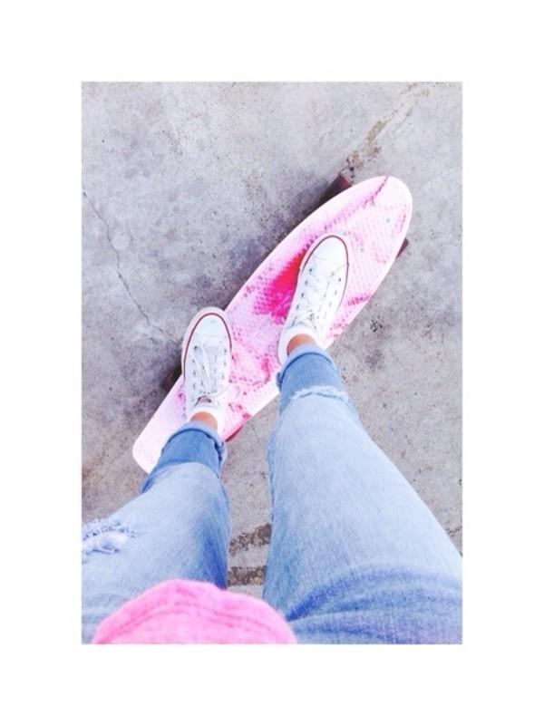 pants pink jeans penny board penny board