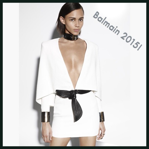 dress balmain balmain designer dress white crisp white stylish style richest