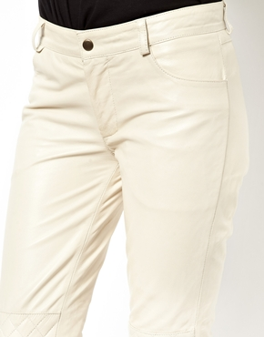 Ganni | Ganni Rocky Biker Trousers in White Smoke Leather at ASOS
