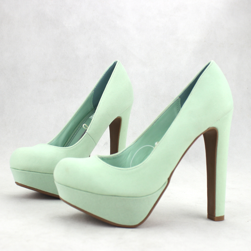 Hot selling 2013 mint green women's shoes shallow mouth round toe platform thick heel ultra high heels elegant ladies plus size-inFlats from Shoes on Aliexpress.com