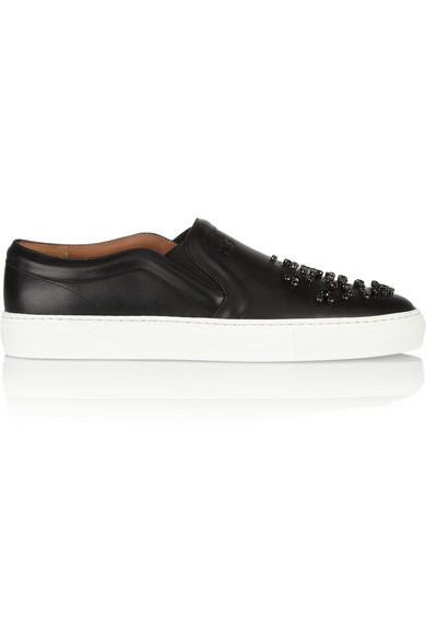 Givenchy|Skate shoes in crystal-embellished black leather with white rubber soles|NET-A-PORTER.COM