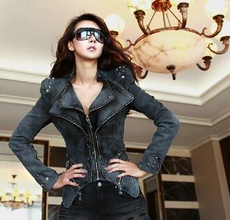 clothes jacket coat denim denim jacket rivet jacket rivet