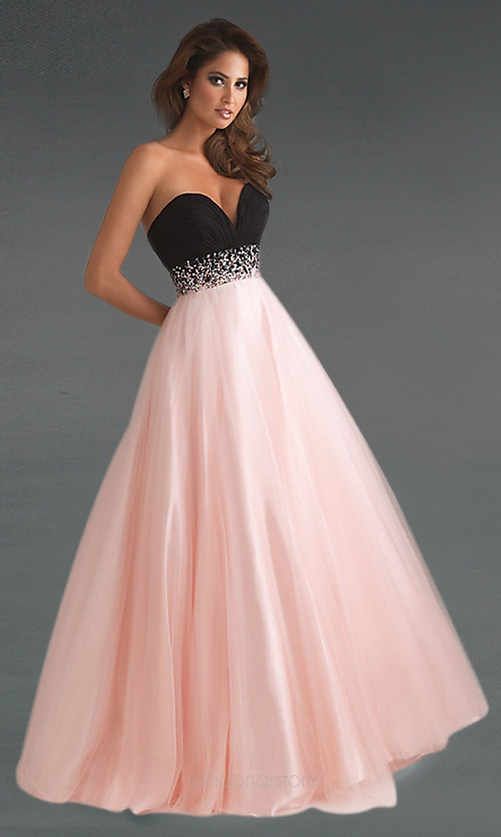Women Sexy A line Evening Party Prom Patchwork Style Chiffon & Organza Beads and Pleated Sweetheart Off Shoulder Dress 15/LF156-in Prom Dresses from Apparel & Accessories on Aliexpress.com