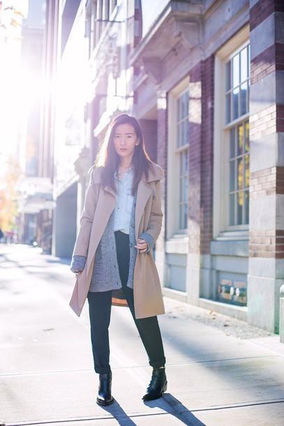 von vogue blogger camel coat knitted cardigan coat cardigan