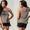 Grey chanel inspired dripping double cc logo print crossover t-shirt tank top sleeveless tee | malibu nyc