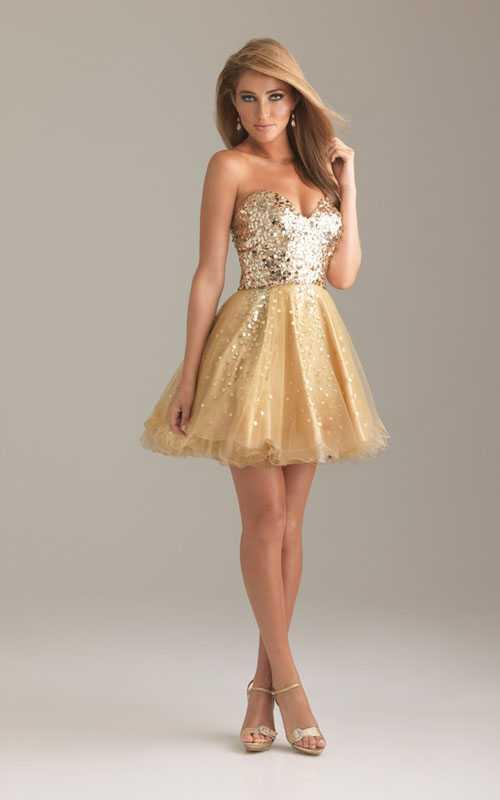 Gold Sequin Strapless Night Moves 6498 Short Prom Dress [Night Moves 6498 Gold] - $165.00 : Prom Dresses 2013, Homecoming Dresses 2013--PromSister