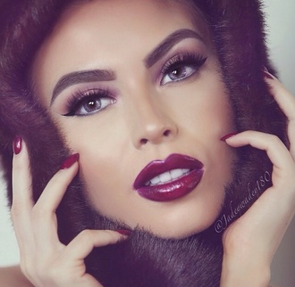 make-up cherry red color burst colorburst grey eyes wing eye crystal eyes nice eyes ombre lips she so pretty cute pop of color burgundy cherry bomb red eyebrows eye makeup eye shadow eyelashes pretty gorgeous purple eyebrows on fleek lashes glitter shimmer winged liner ombre jewels