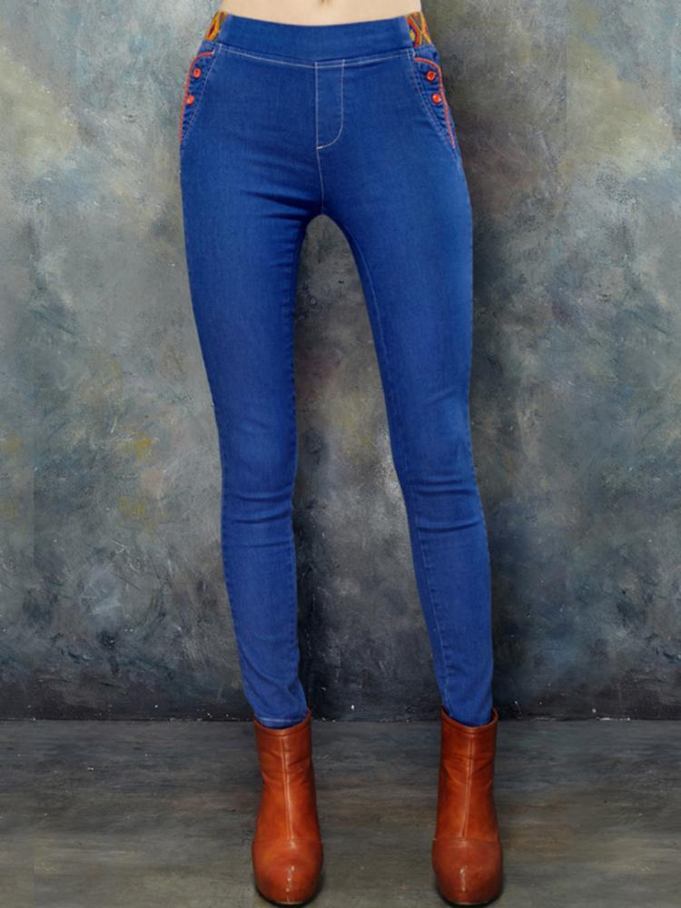 ELF SACK Embroideried Waist Skinny Jeans | Choies