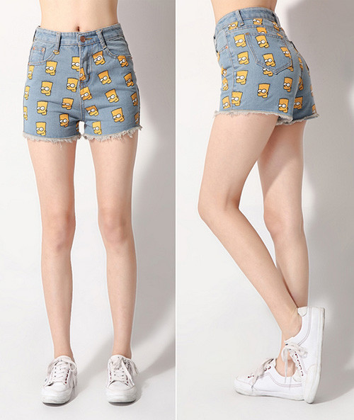 Women Jeans Shorts High Waisted Bart Simpson Print Summer 2013 Fashion Casual Cheap Denim Pants 2Colors DK026-in Jeans from Apparel & Accessories on Aliexpress.com