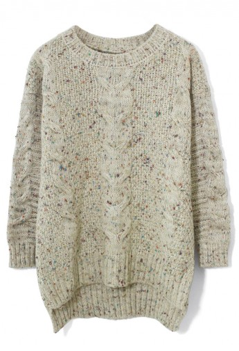 Candy Dots Cable knit Sweater in Ivory - Retro, Indie and Unique Fashion