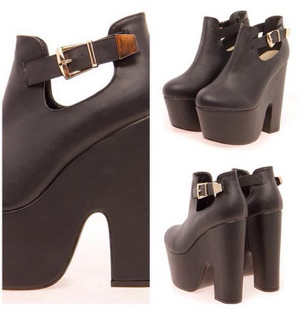 shoes boots straps black leather platform shoes high heels open sides block heels gold