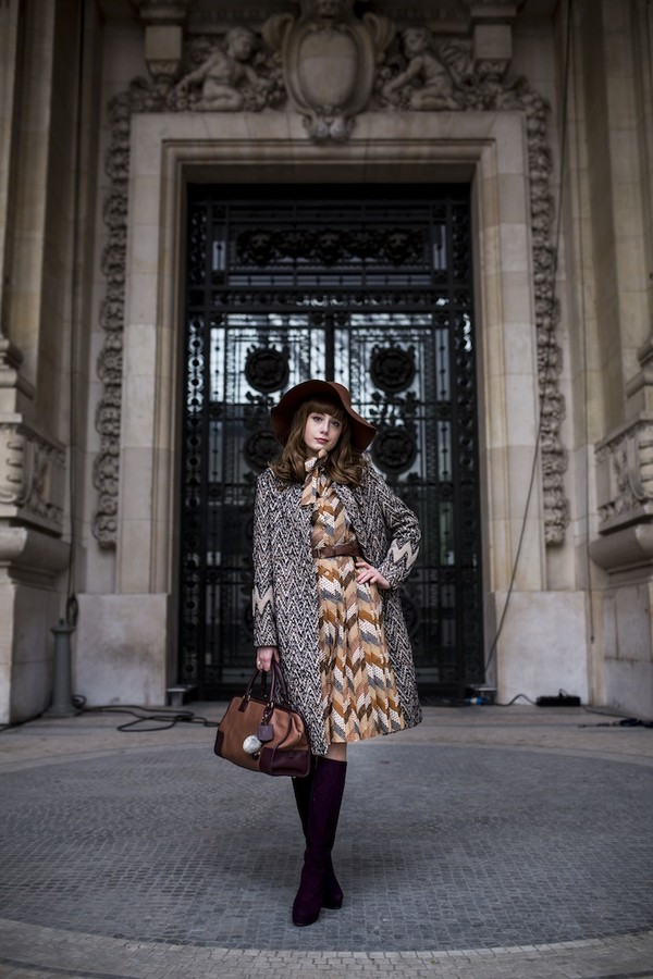 miss pandora dress coat shoes hat bag loewe bag midi dress fall dress printed dress printed coat brown hat brown bag brown boots knee high boots winter outfits