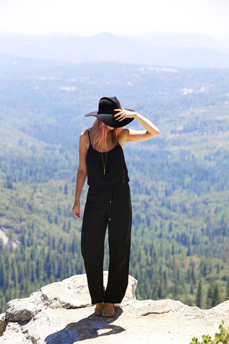 late afternoon jumpsuit shoes hat
