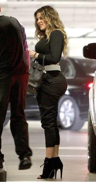 top khloe kardashian cropped pants peep toe boots