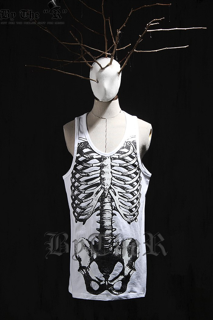 ByTheR Skeleton Tank Top Rock Chic Punk Sexy Korean Fashion CA on Wanelo