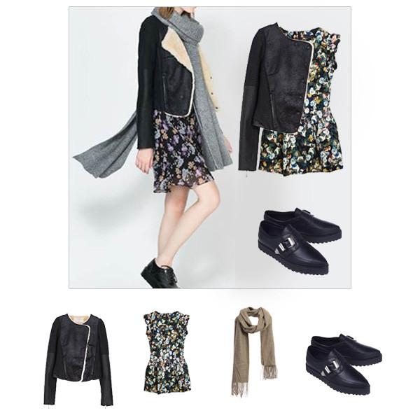 jacket choies coat shearling jacket floral dress