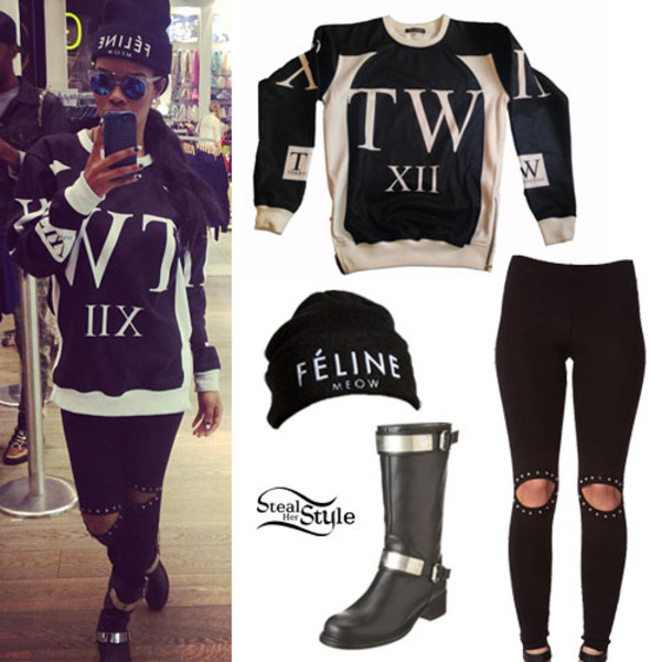 sweater teyana taylor black and white shoes