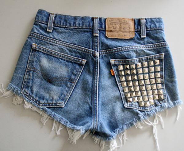 shorts jeans denim shorts high waisted denim shorts studded shorts blue shorts studs style lovely cute summer cute shorts girly