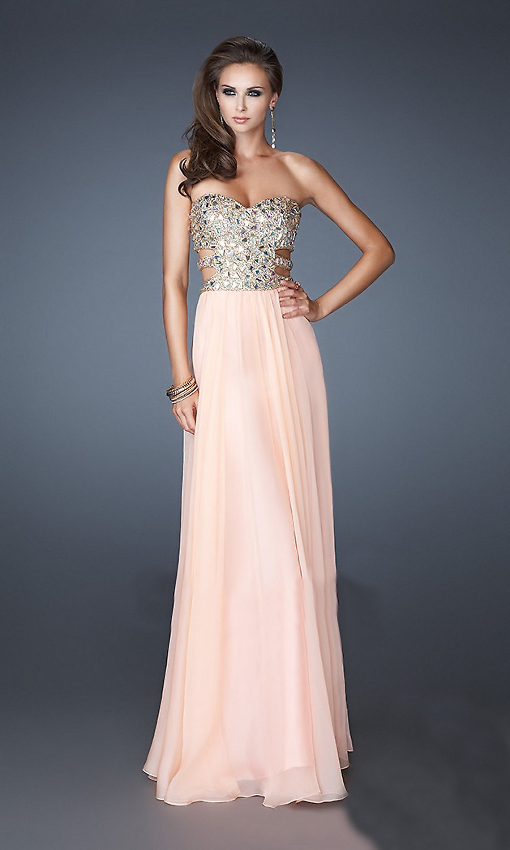 $145.00 Cheap Amazing A-Line/Princess Sweetheart Sleeveless Rhinestone Floor-Length Chiffon Dress absa-5731 - absasa.com