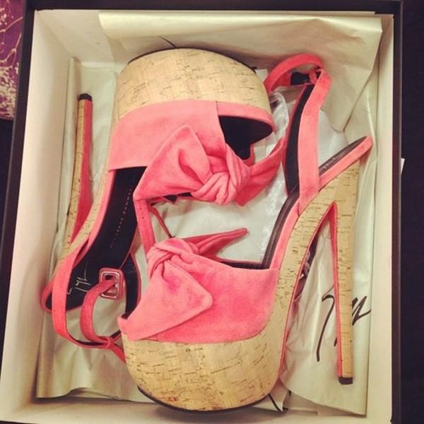 shoes cork heels giuseppe zanotti cork high heels pink peach neon heels bow