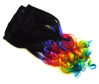 hair accessory blackish-brown hand made clip in hair extensions rainbow ombre hair