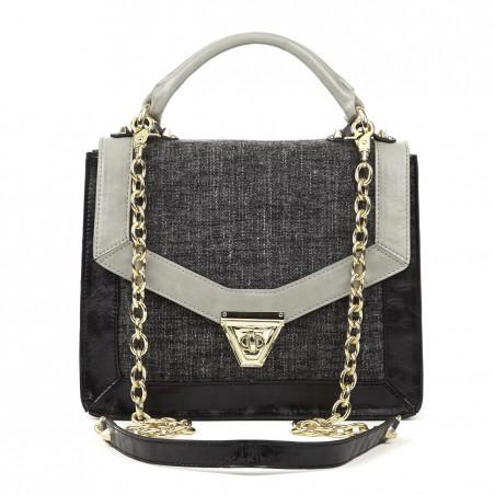 Women's Black Grey Tweed  Medium Shoulder Bag With Chain | Eloise by Sole Society