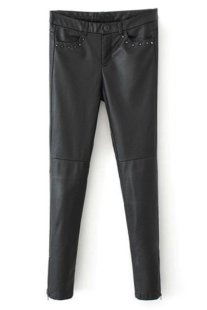 ROMWE | ROMWE Faux Leather Zippered Pocketed Black Pants, The Latest Street Fashion