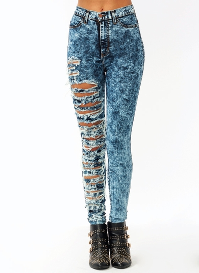 Destroyed-Acid-Wash-Jeans DKBLUE LTBLUE - GoJane.com