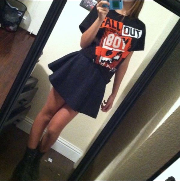 skirt fall out boy high waisted high waisted skirt combat boots shirt vans warped tour