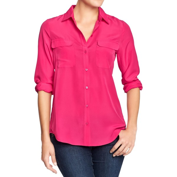 Old Navy Womens Chiffon Button Up Blouses - Fuchsia islands - Polyvore